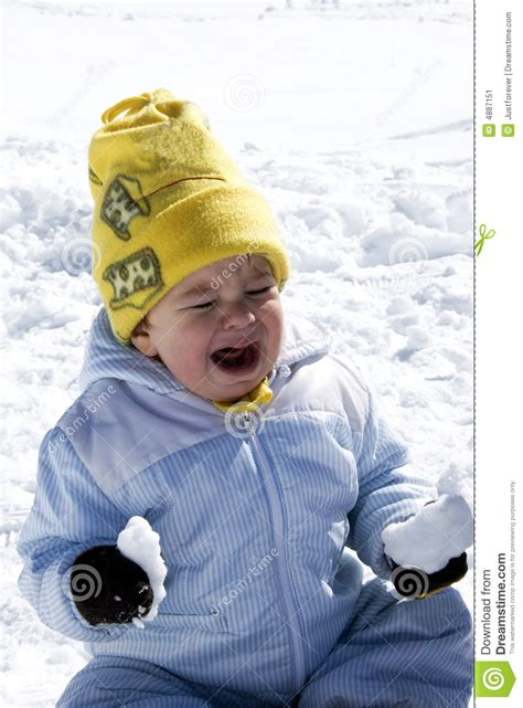 Crying Baby On The Snow Stock Image - Image: 4887151