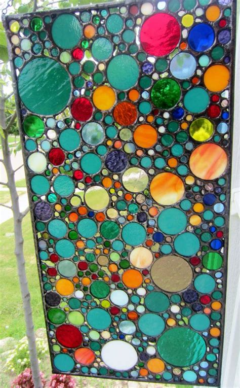Handmade Stained Glass Art - Abstract Circle Collage | Art