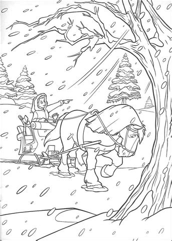 Horse and carriage in winter coloring page | Free