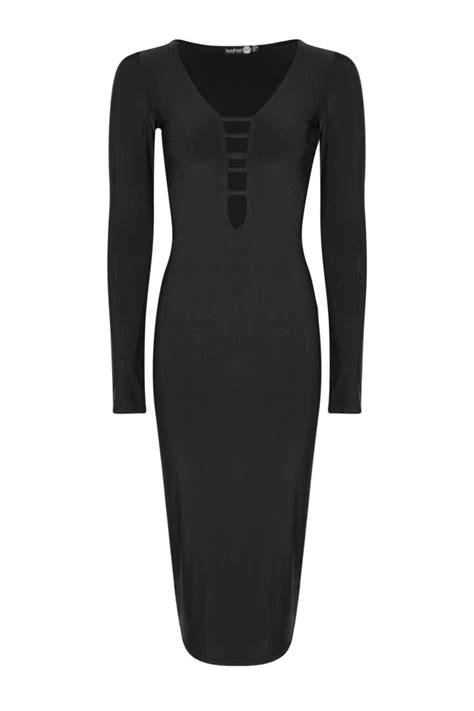 Lyst - Boohoo Vicky Strappy Front Long Sleeve Bodycon