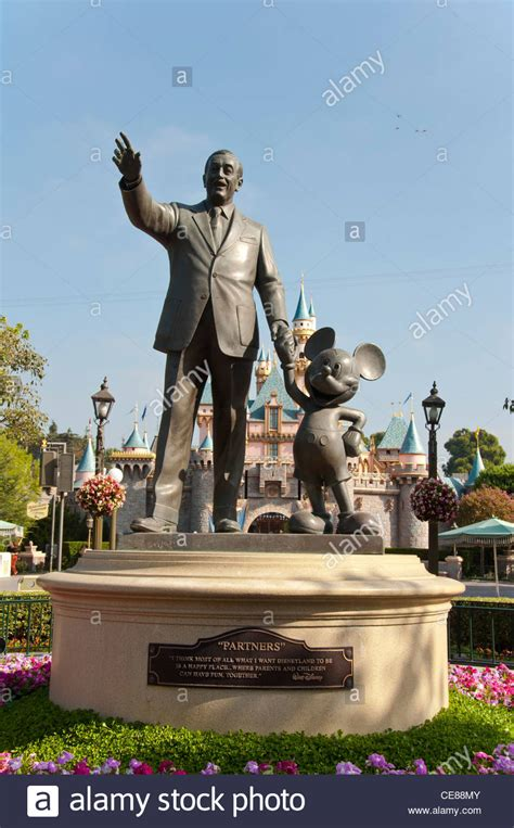 Statue Of Walt Disney and Mickey Mouse at Disneyland Park