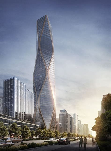 hangzhou wangchao center is a rippling tower designed by SOM