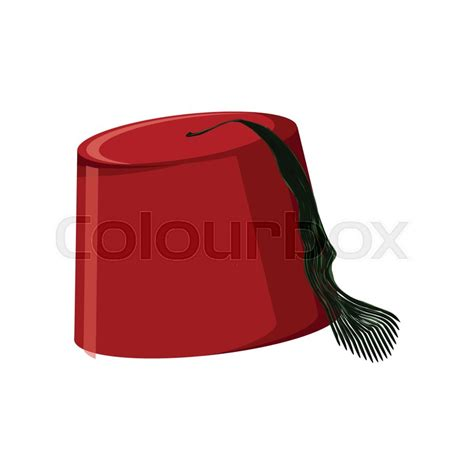 Traditional turkish hat fez or tarboosh isolated on white
